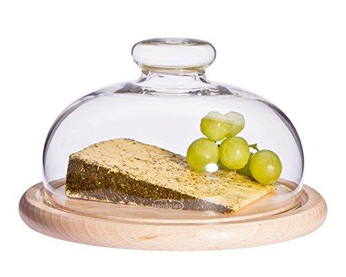 Trendglas Jena Käseglocke mit Holzunterteller, 17 cm
